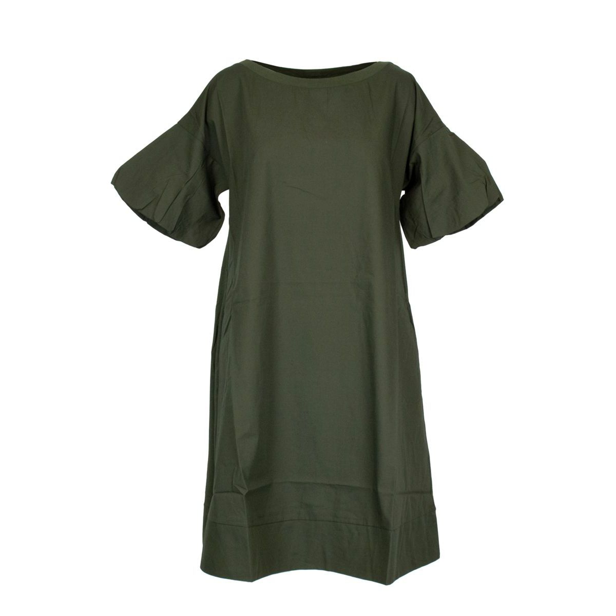 Cotton dress with puffed sleeves Green Alpha Studio