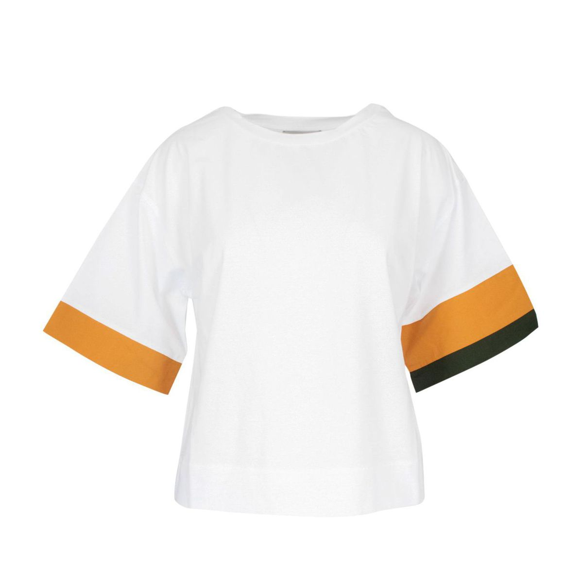 Crewneck cotton sweater with contrasting motifs White Alpha Studio