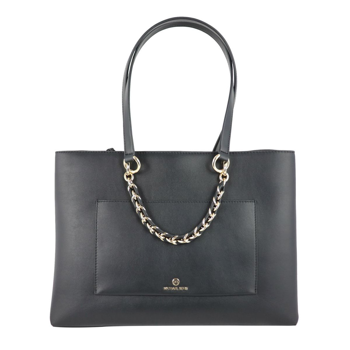 Medium leather tote bag with chain Black Michael Kors