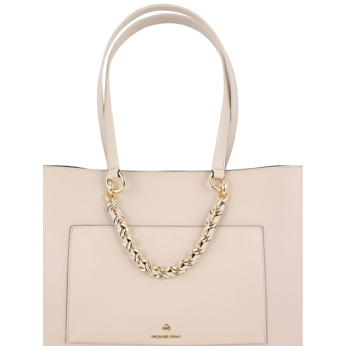 Medium leather tote bag with chain Powder pink Michael Kors