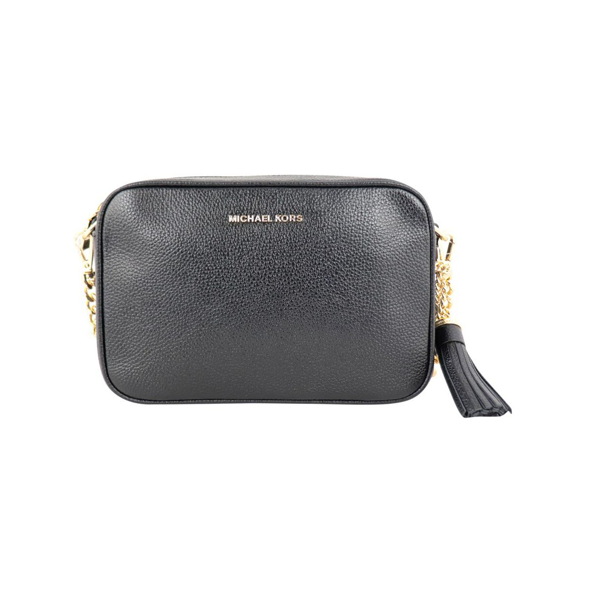 Camera bag in textured leather with charm Black Michael Kors