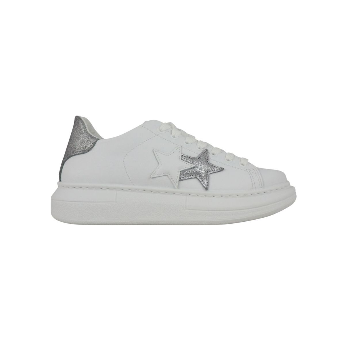 Sneakers with side logo and silver detail on the back White silver 2Star