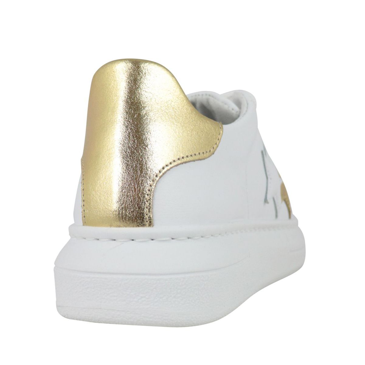 Sneakers with side logo and gold detail on the back White / gold 2Star
