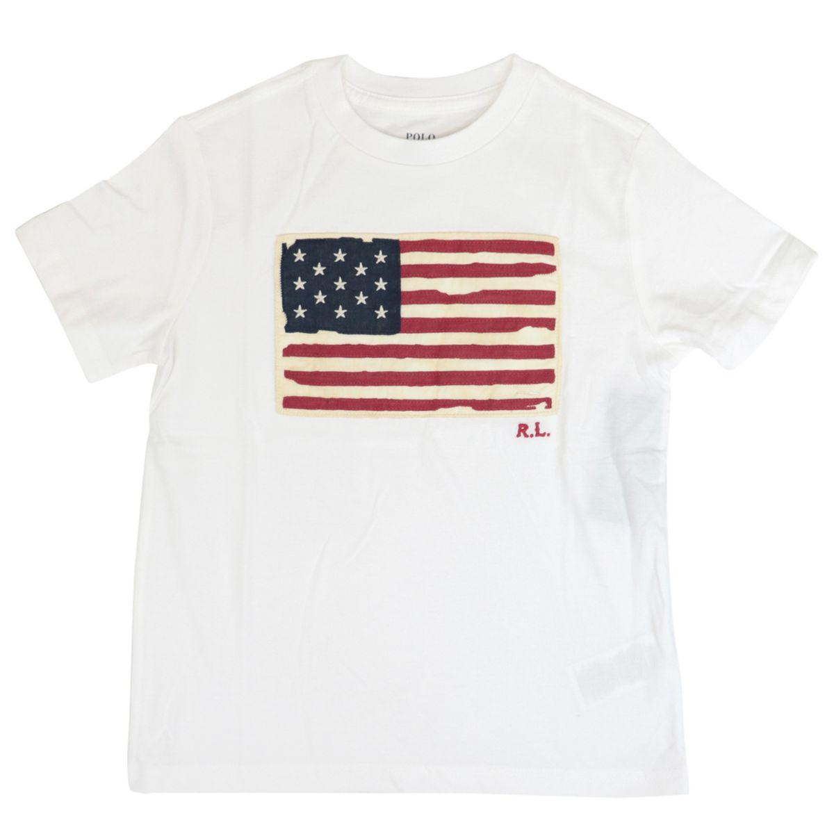 Cotton t-shirt with flag logo print White Polo Ralph Lauren