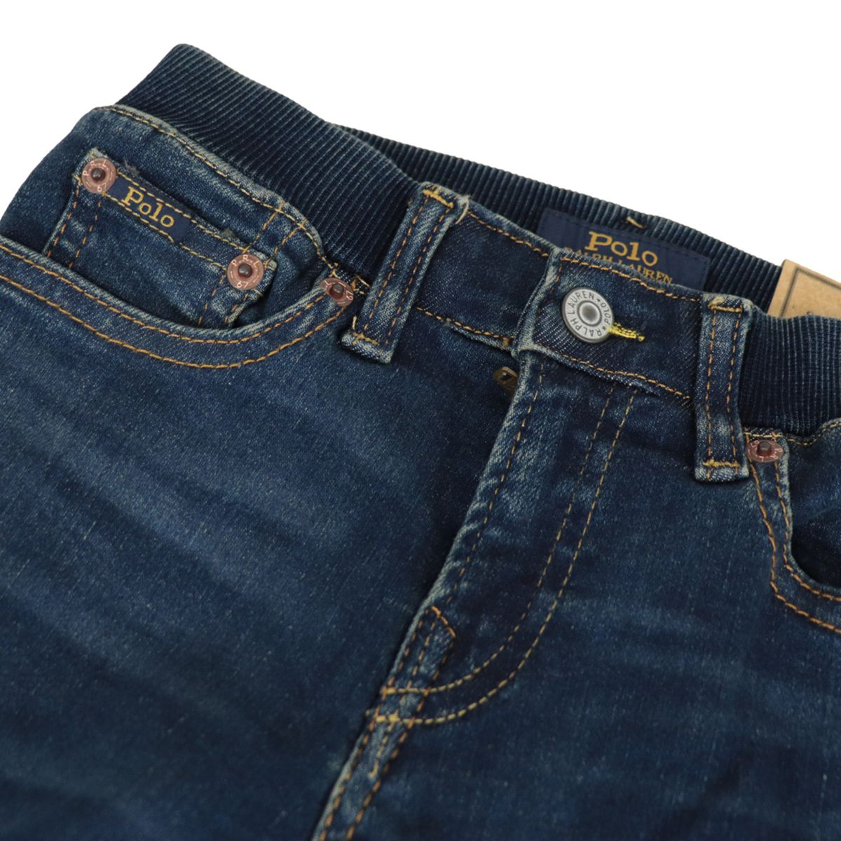 Slim-fit jeans in used-effect cotton blend Dark denim Polo Ralph Lauren