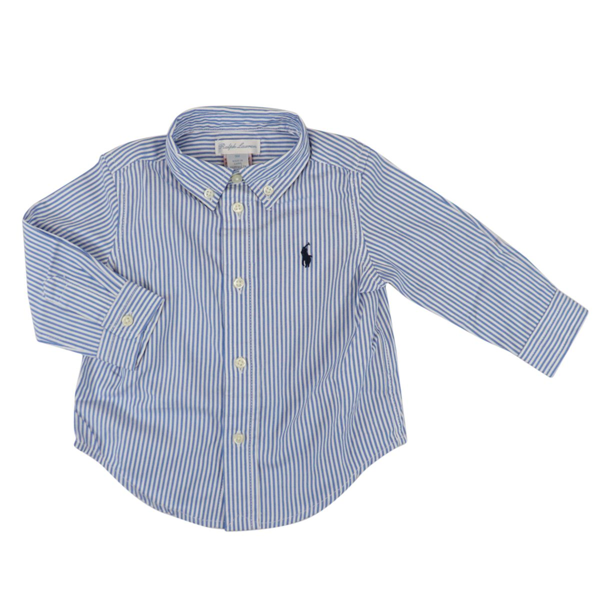 Long-sleeved botton down shirt in cotton Blue / white Polo Ralph Lauren