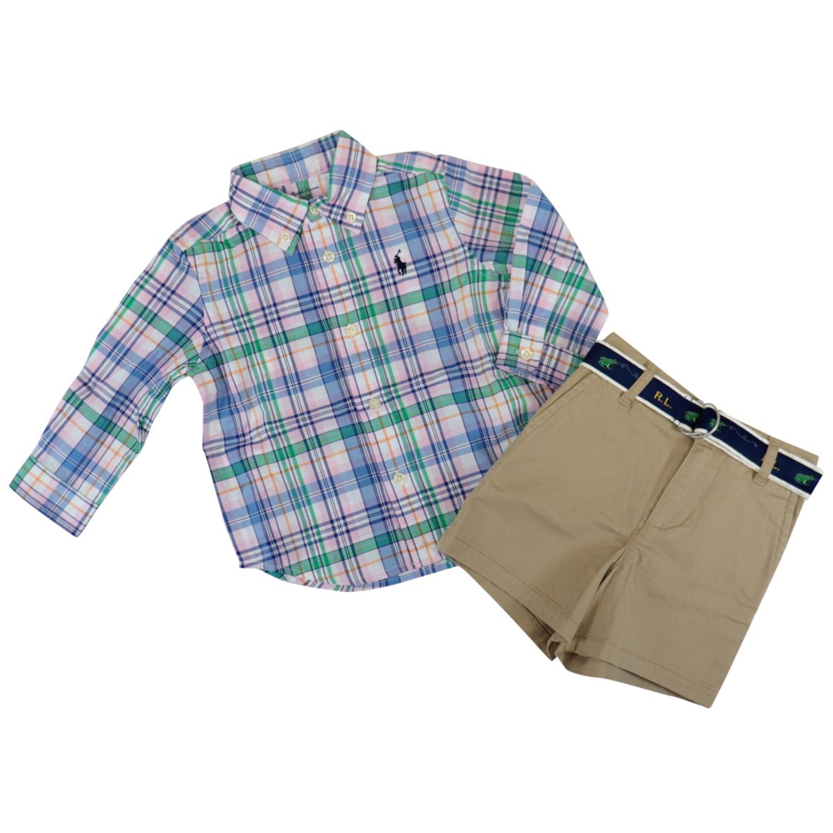 Striped cotton shirt with shorts Pink / orange Polo Ralph Lauren