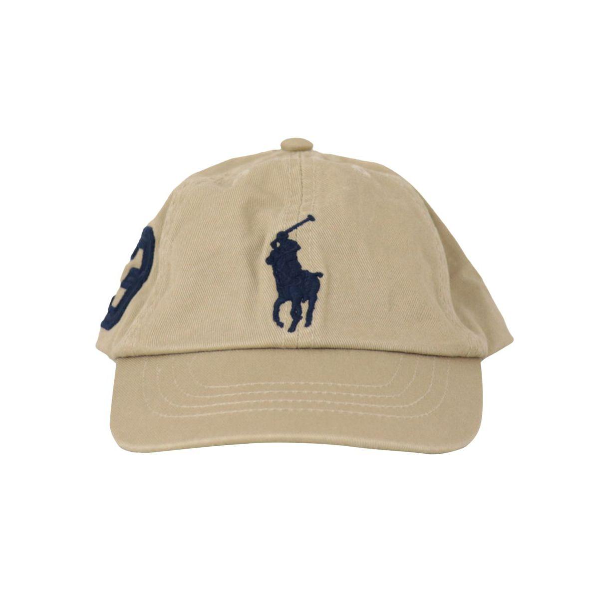 Cotton cap with visor and maxi logo Kaki Polo Ralph Lauren