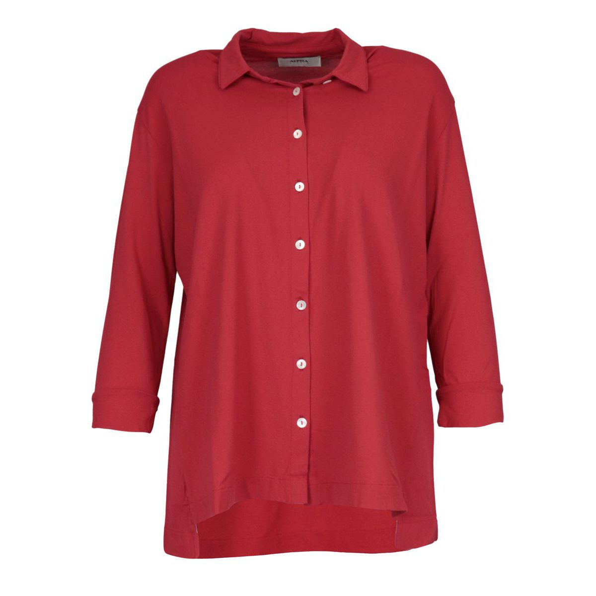 Cotton shirt with 3/4 sleeve Red Alpha Studio