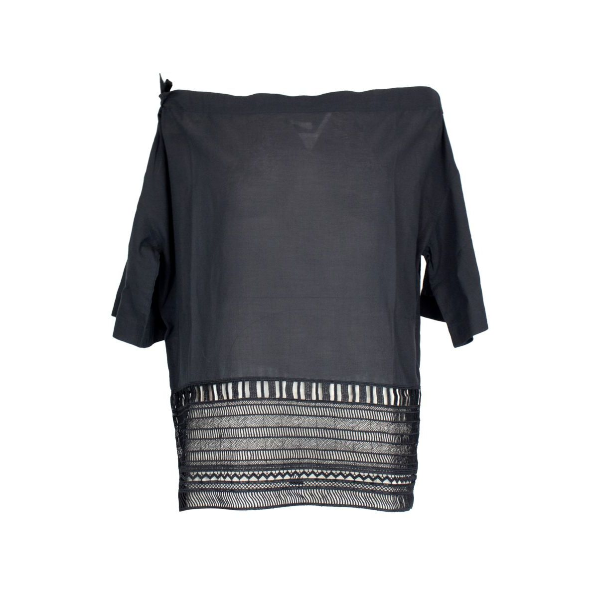 Cotton sweater with boat neckline and embroidery Black Alpha Studio