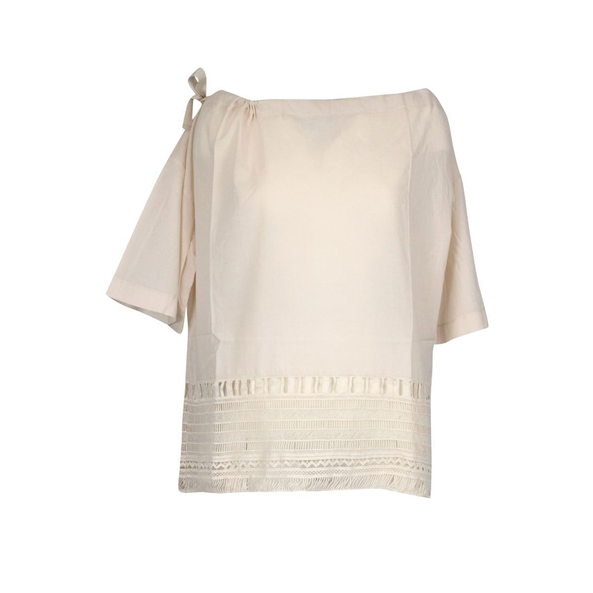 Cotton sweater with boat neckline and embroidery String Alpha Studio