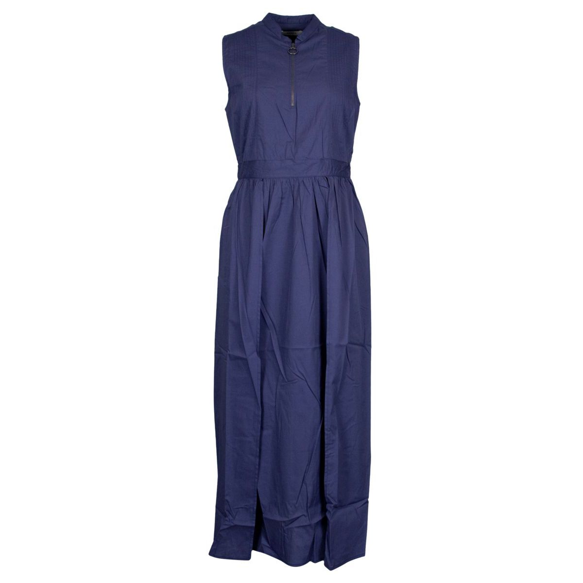 Long sleeveless cotton dress with zip Indigo Alpha Studio