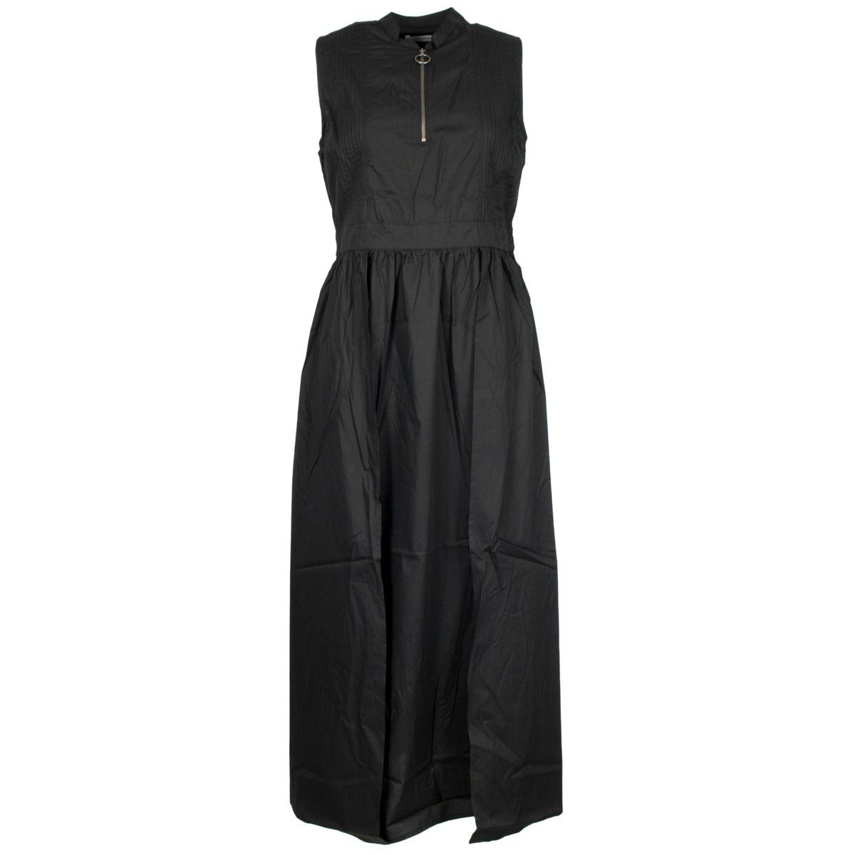 Long sleeveless cotton dress with zip Black Alpha Studio