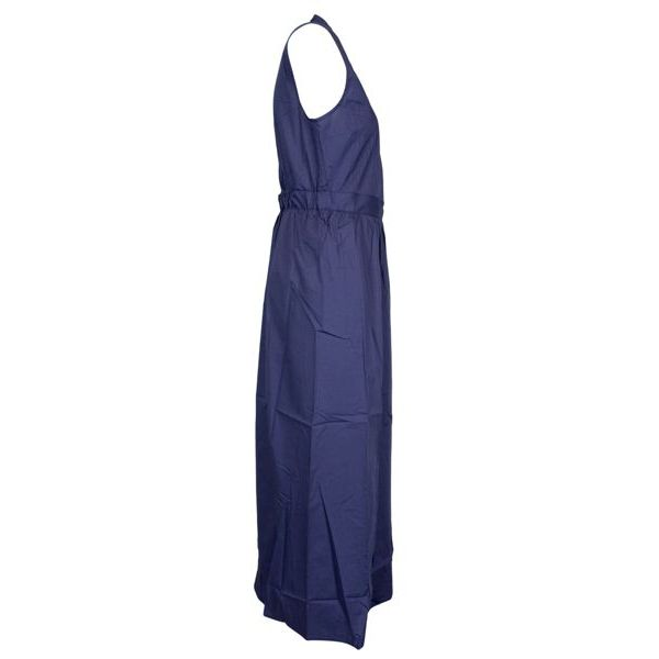 Long sleeveless cotton dress with zip Indigo Alpha Studio