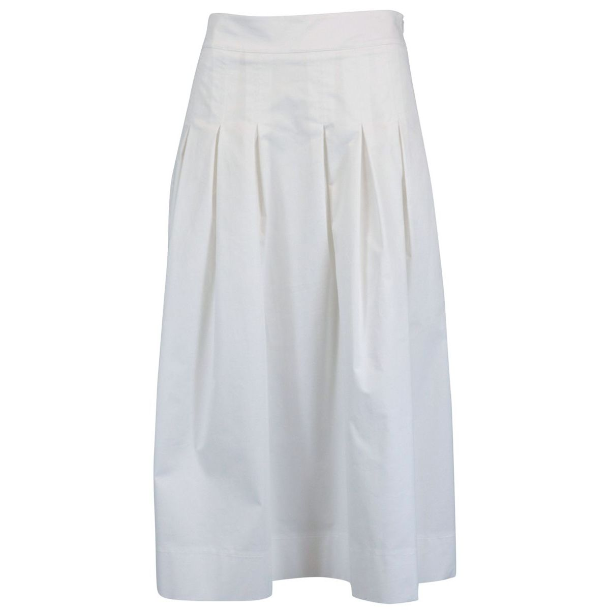 Cotton skirt with stitched pleats White Alpha Studio