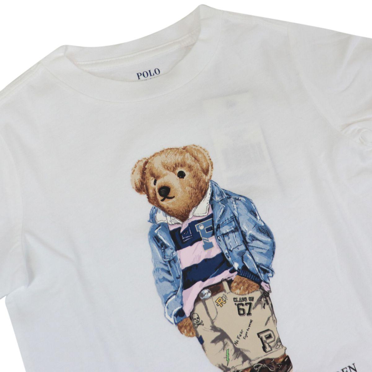 Cotton t-shirt with bear logo print White Polo Ralph Lauren