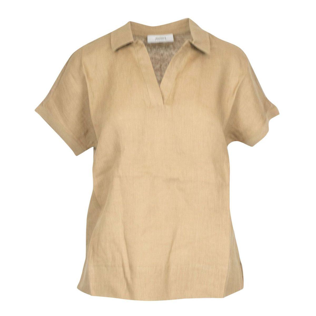 Short-sleeved kimono linen polo shirt Tobacco Alpha Studio