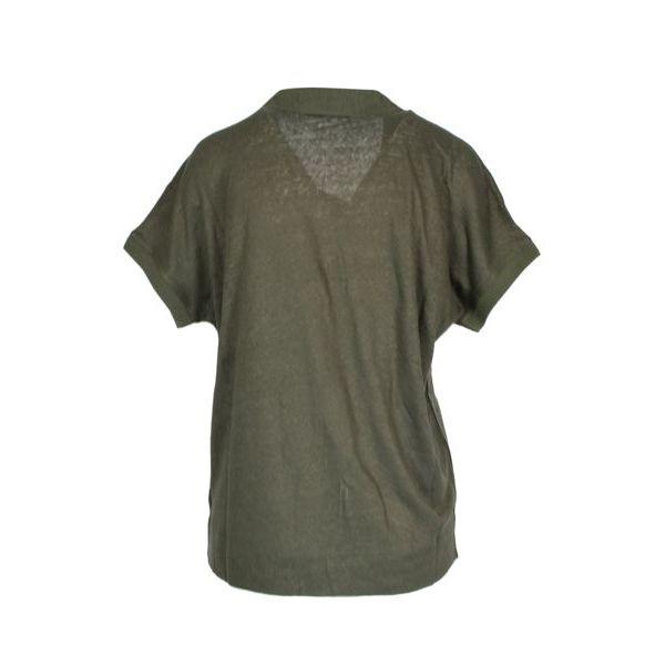 Short-sleeved kimono linen polo shirt Dark green Alpha Studio