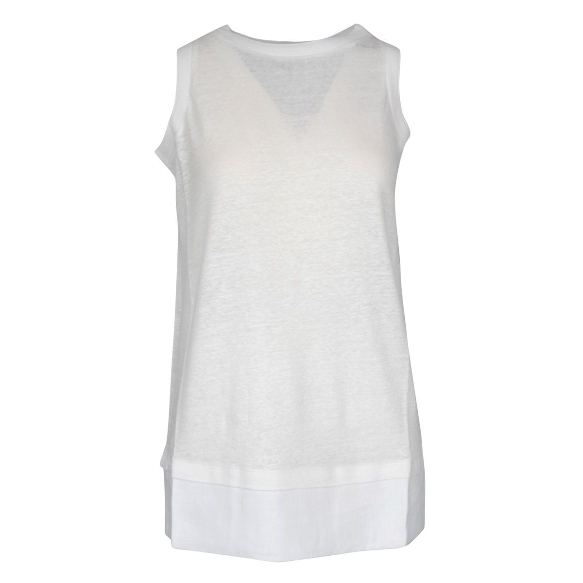 Solid color sleeveless crew neck sweater White Alpha Studio