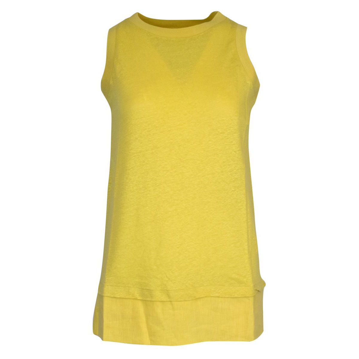Solid color sleeveless crew neck sweater Lime Alpha Studio