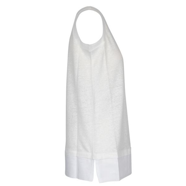 Solid color sleeveless crew neck sweater White Alpha Studio