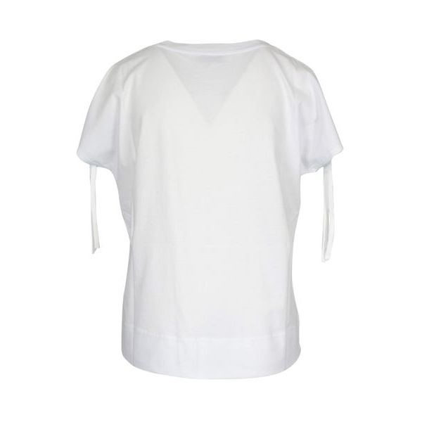 Linen sweater with drawstring on the sleeves White Alpha Studio
