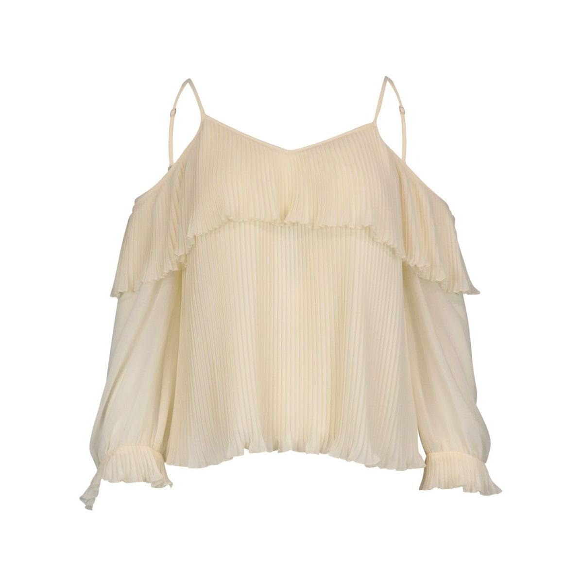 Pleated georgette blouse with cut-out shoulders White Twin-Set