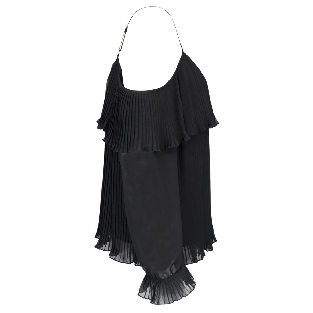 Pleated georgette blouse with cut-out shoulders Black Twin-Set