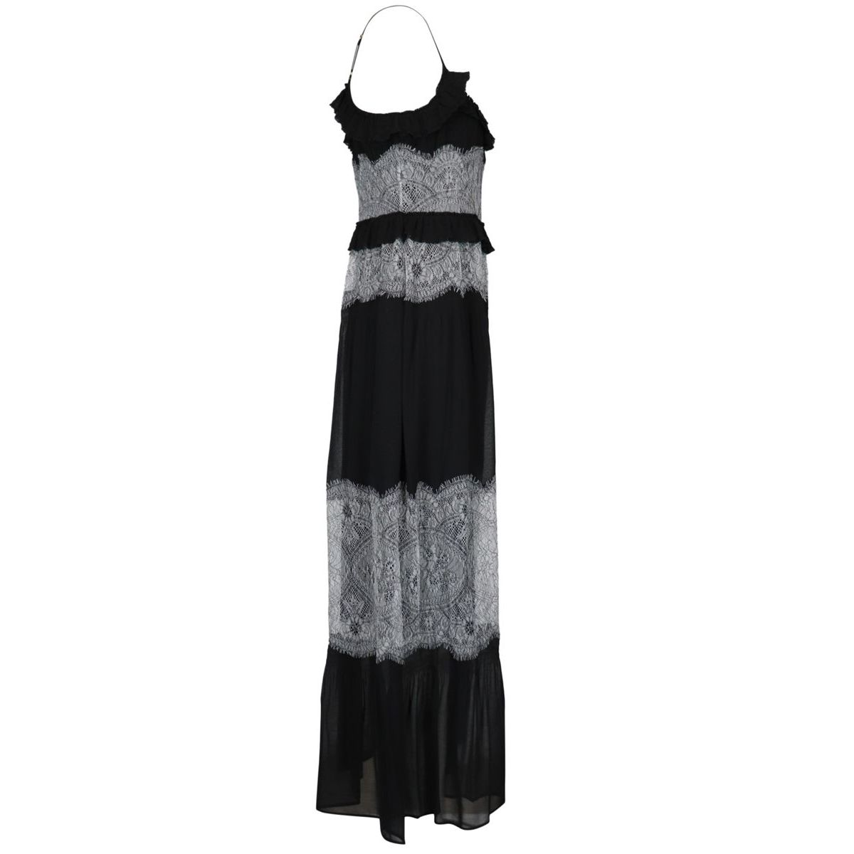 Long dress in pleated georgette with rébrodé lace Black Twin-Set