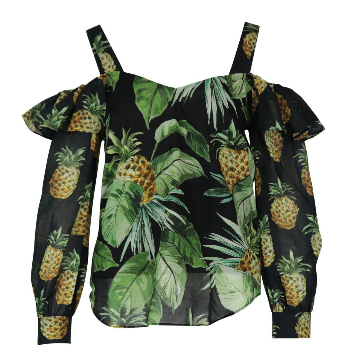 Printed cotton blouse with cut-out shoulders Black / fantasy Twin-Set