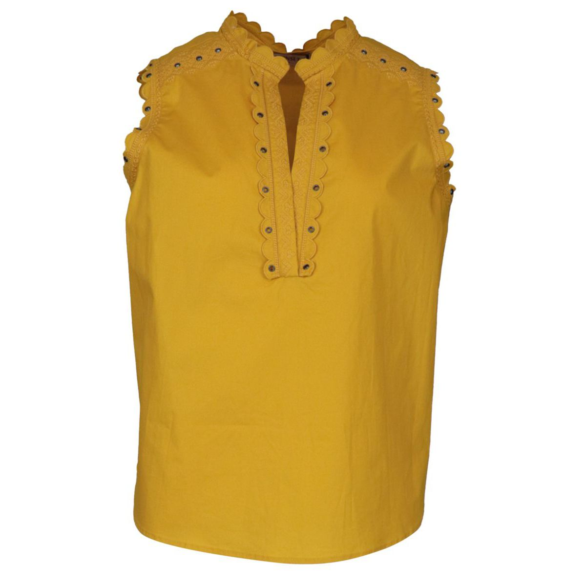 Cotton poplin top with embroidery Yellow Twin-Set