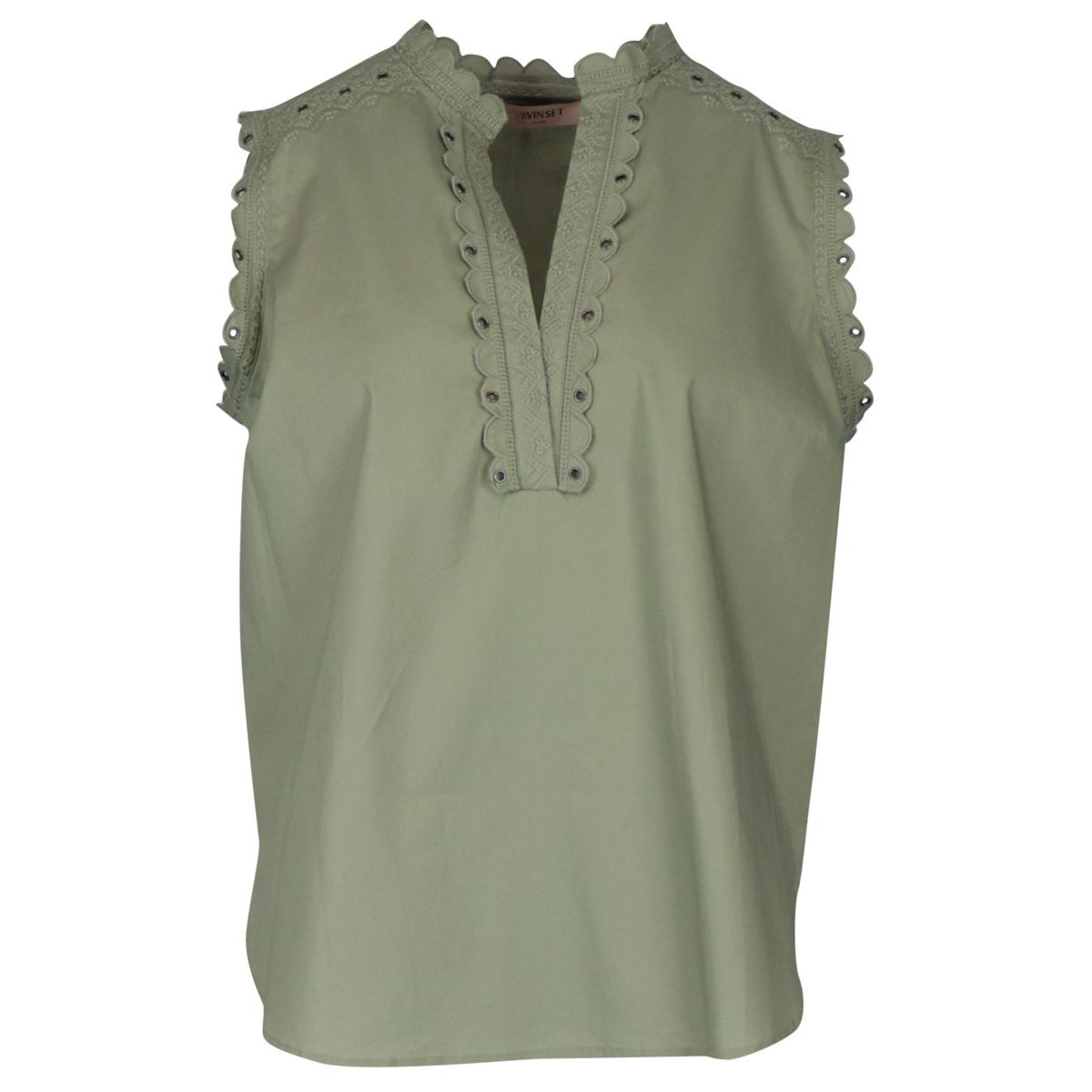Cotton poplin top with embroidery Military Twin-Set