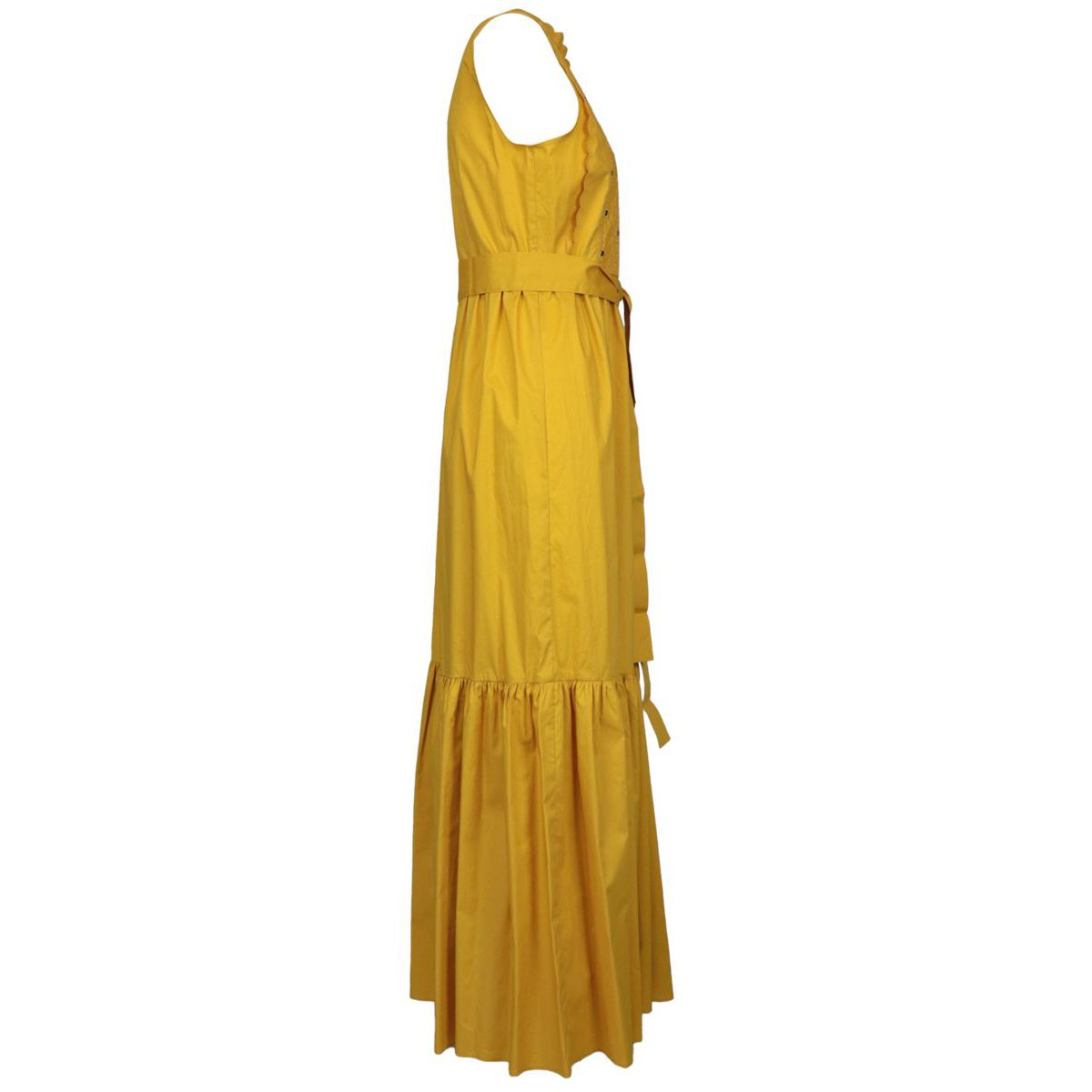 Cotton dress with flounces and thread embroidery Yellow Twin-Set