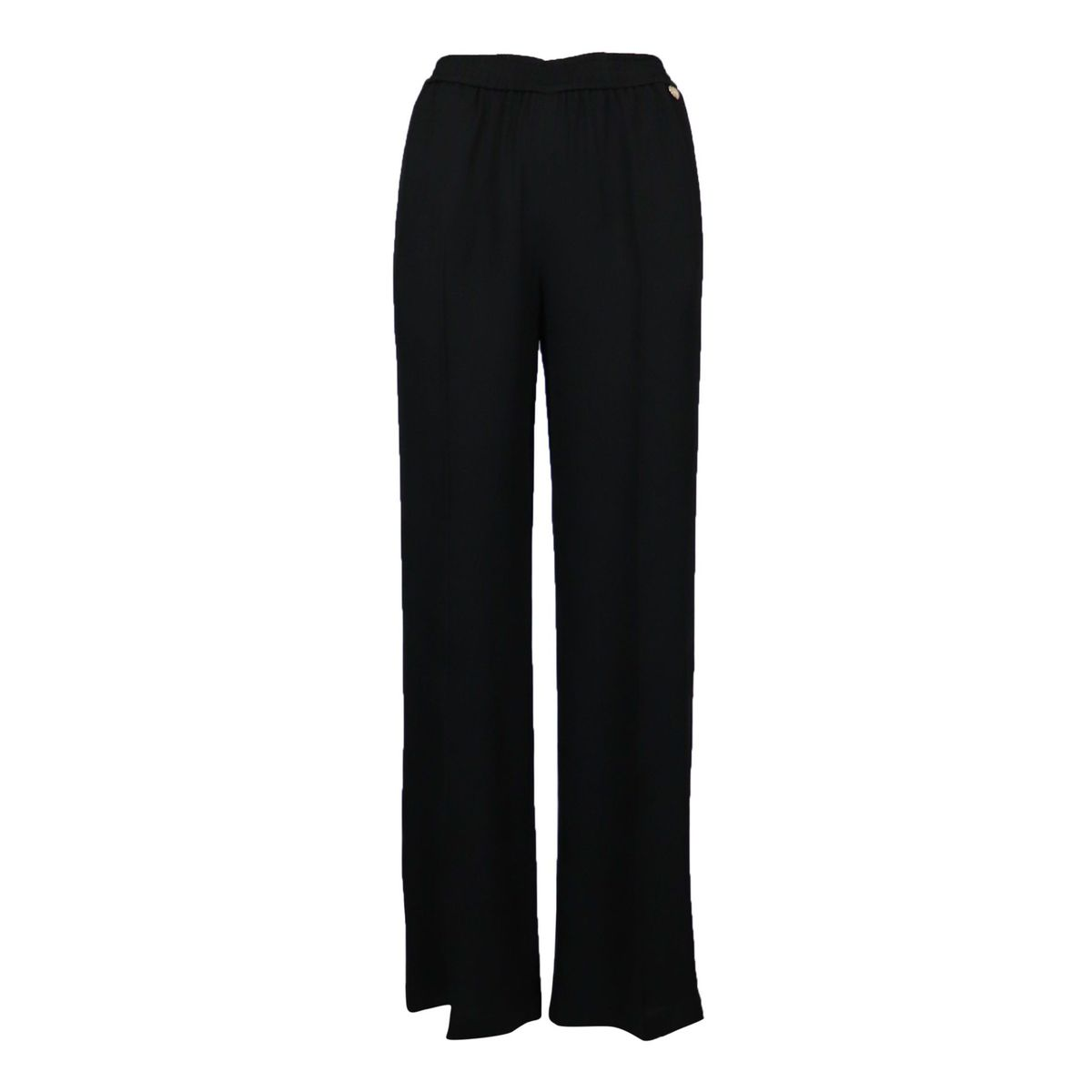 Wide crepe trousers with elastic waistband Black Twin-Set