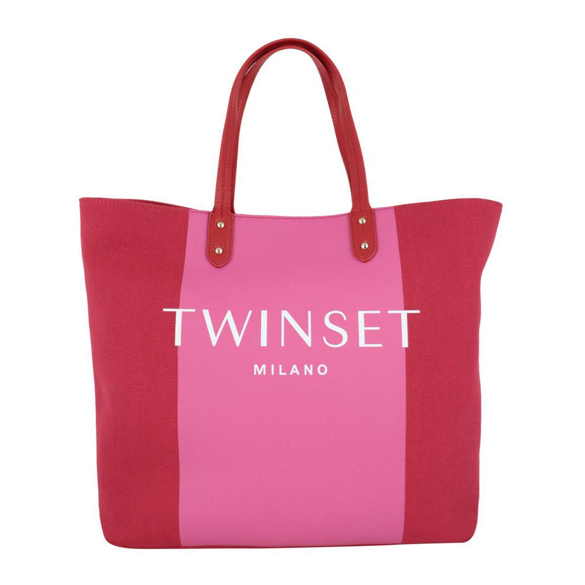 Borsa shopping in cotone bicolor con logo Geranio Twin-Set
