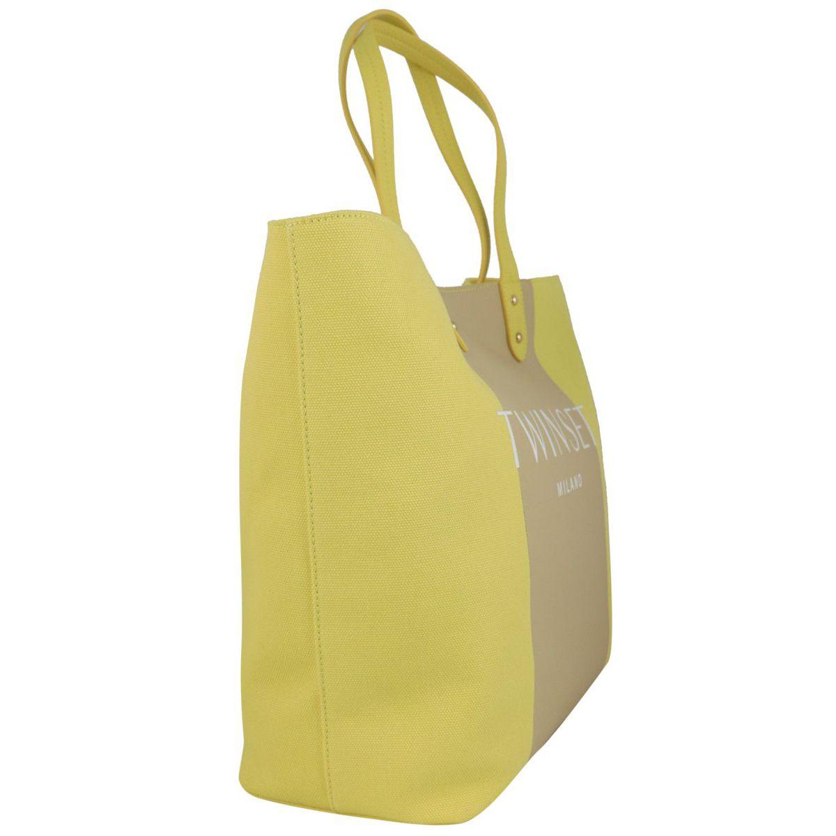 Borsa shopping in cotone bicolor con logo Lime Twin-Set