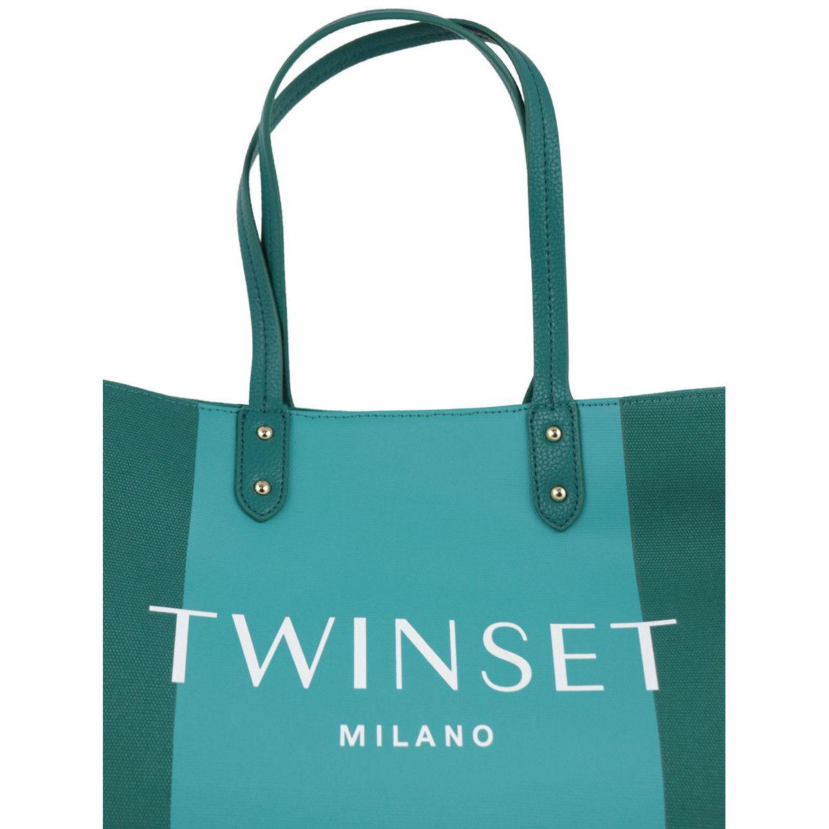 Borsa shopping in cotone bicolor con logo Verde Twin-Set