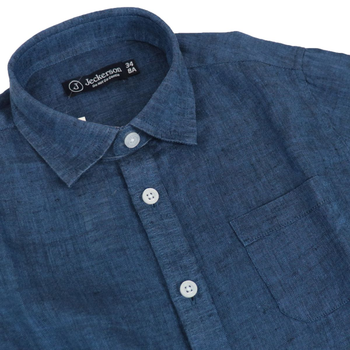Linen shirt with French collar Blue Jeckerson