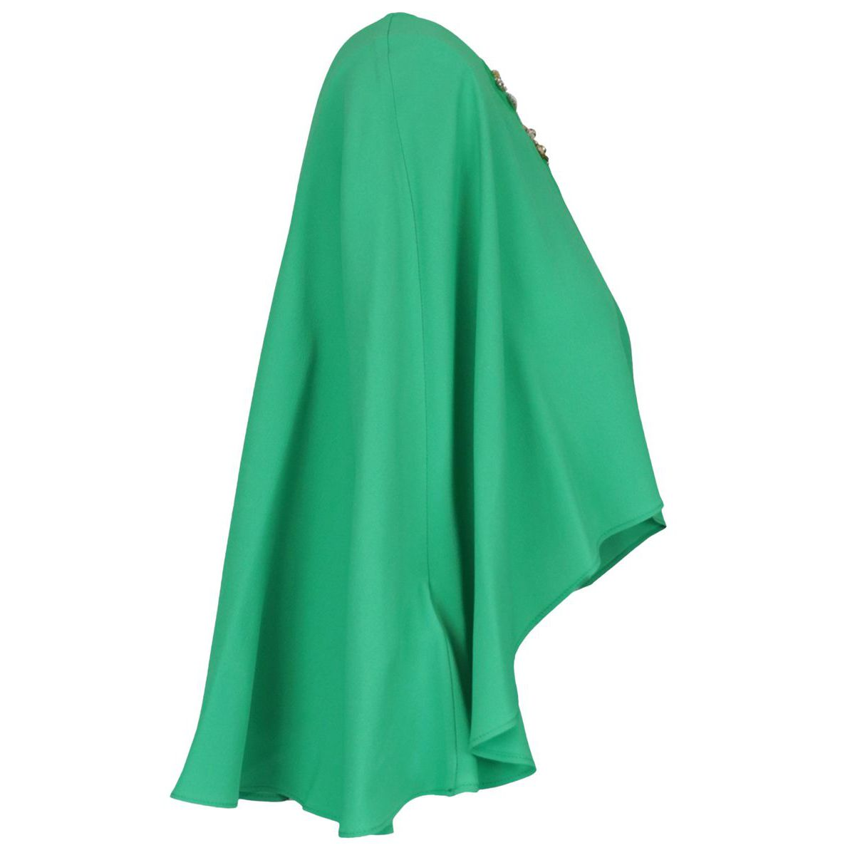 Shawl cape model in crepe with jewel detail Mint Pinko