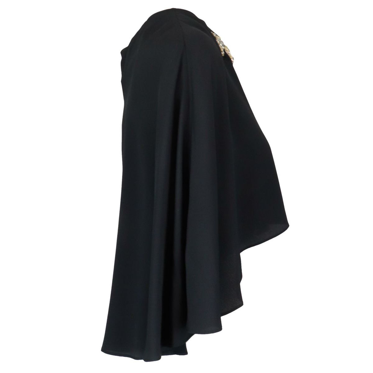 Shawl cape model in crepe with jewel detail Black Pinko