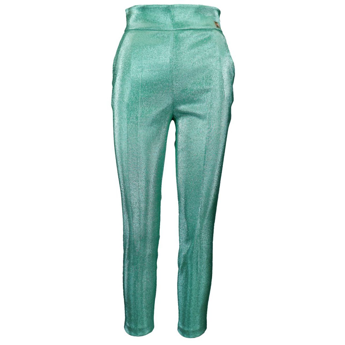 Pantalone in lurex a vita alta Verde acqua Elisabetta Franchi