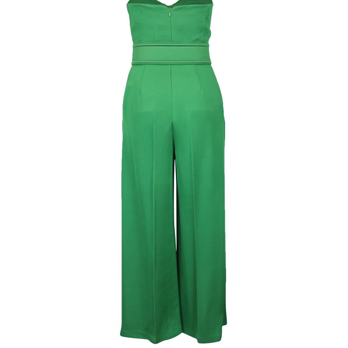 Stretch viscose jumpsuit with sweetheart neckline and belt Emerald Elisabetta Franchi