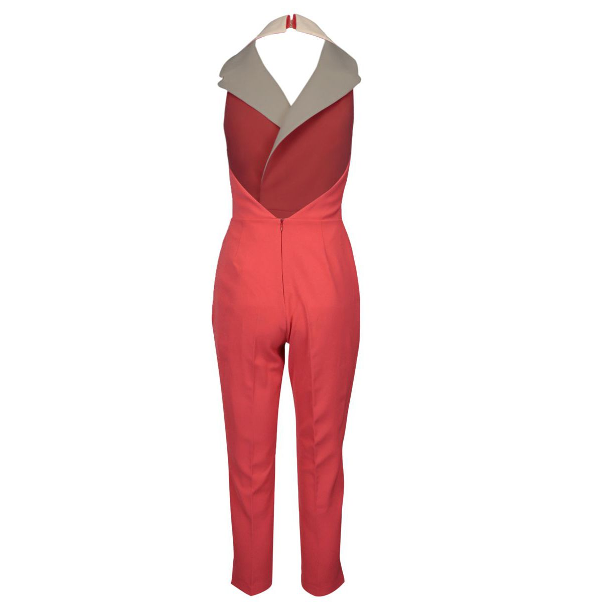 Sleeveless jumpsuit with lapels and buttons Rosa-ecru Elisabetta Franchi
