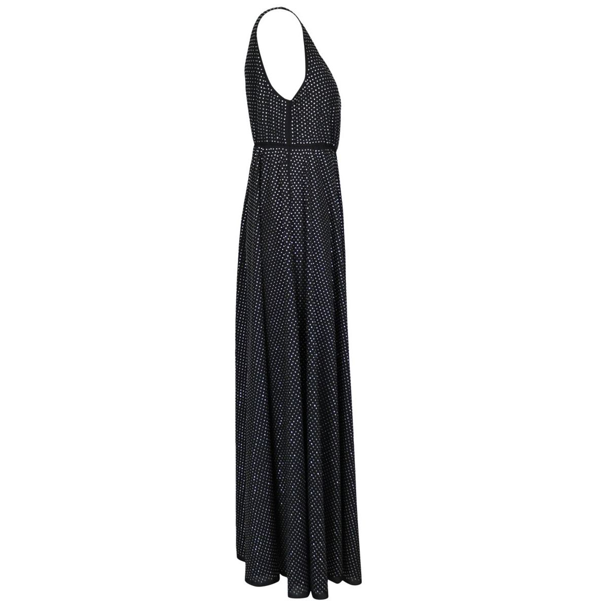 Long Freeza dress in full crystal georgette Black Pinko