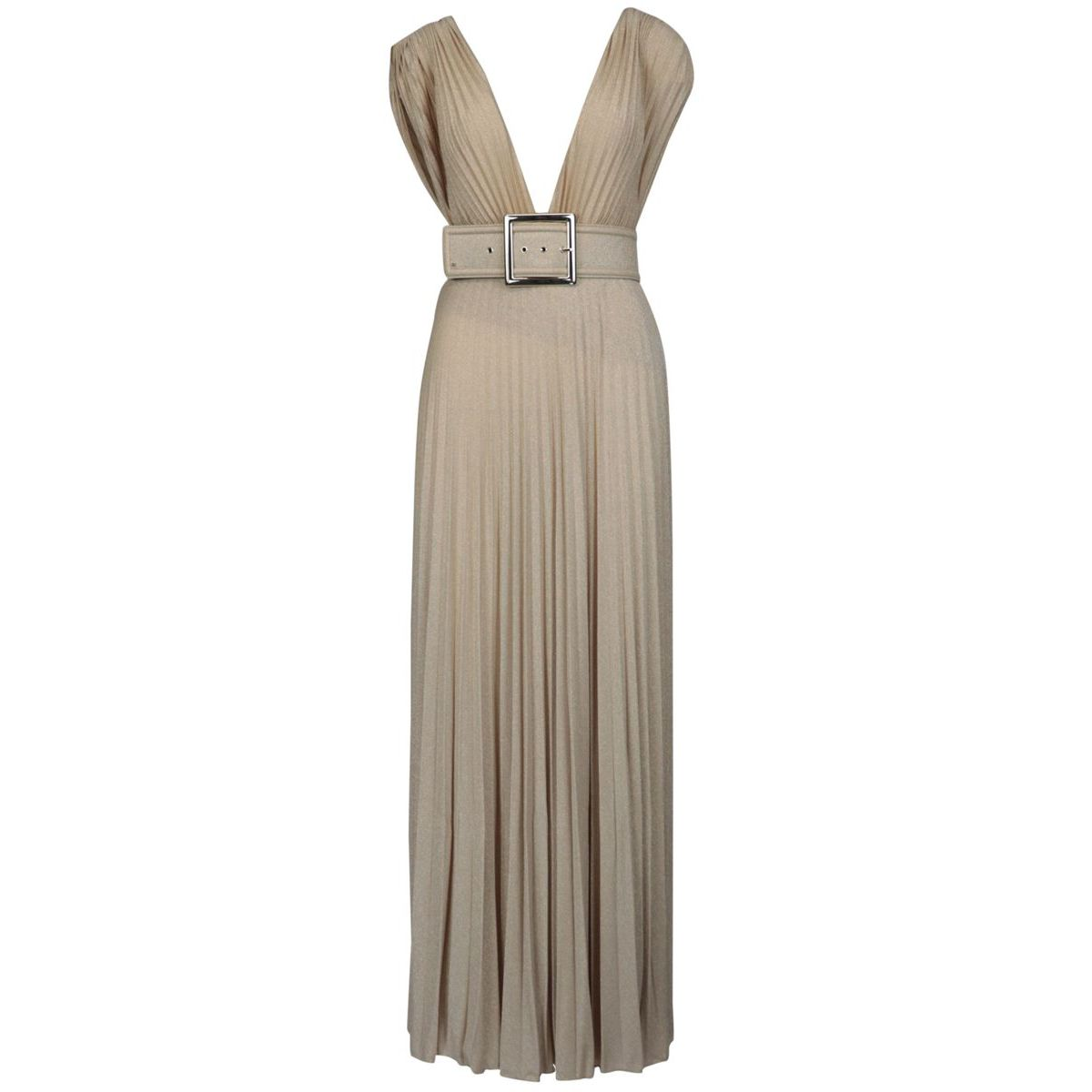 Sleeveless lamè jersey dress with V-neck and belt Gold Elisabetta Franchi