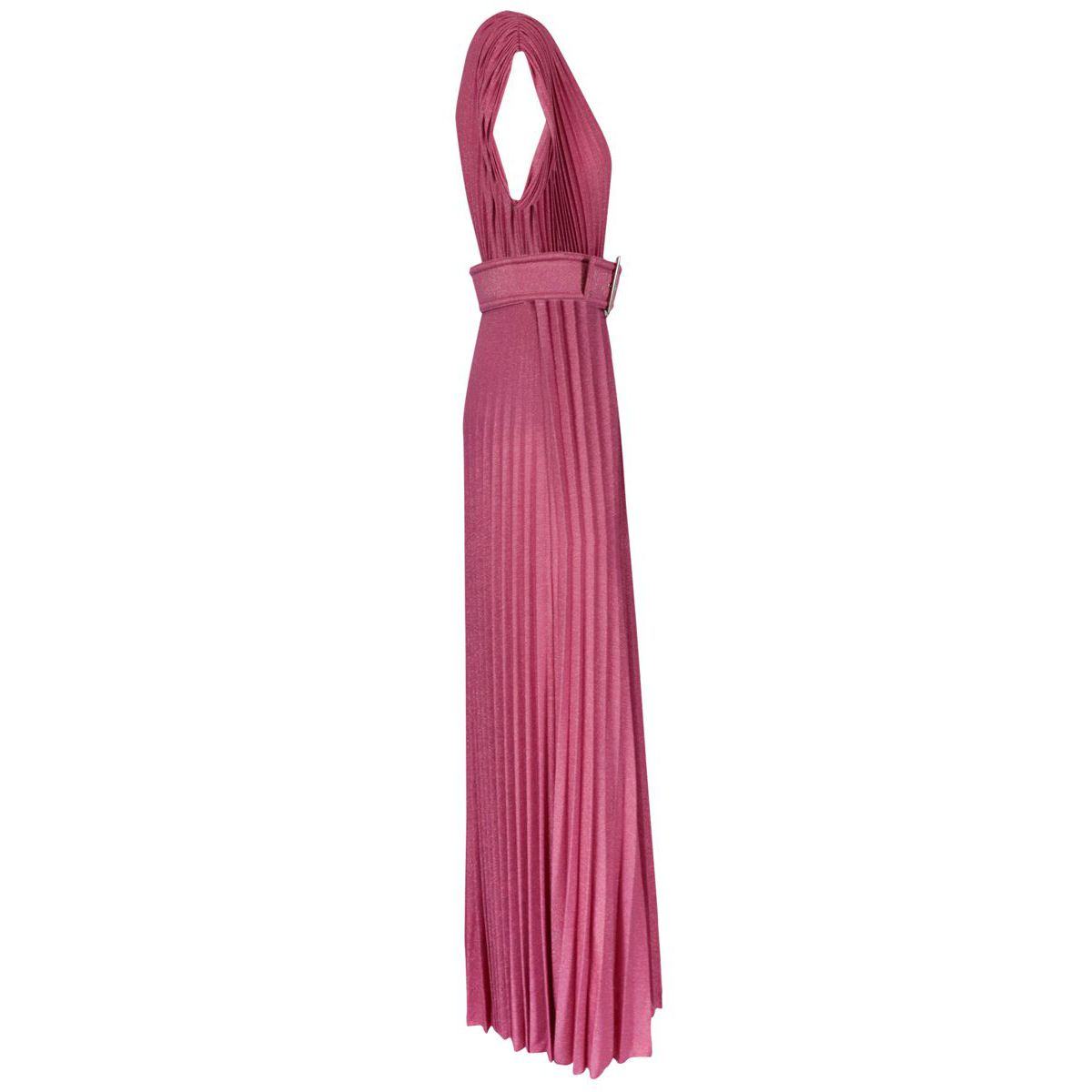 Sleeveless lamè jersey dress with V-neck and belt Deep pink Elisabetta Franchi
