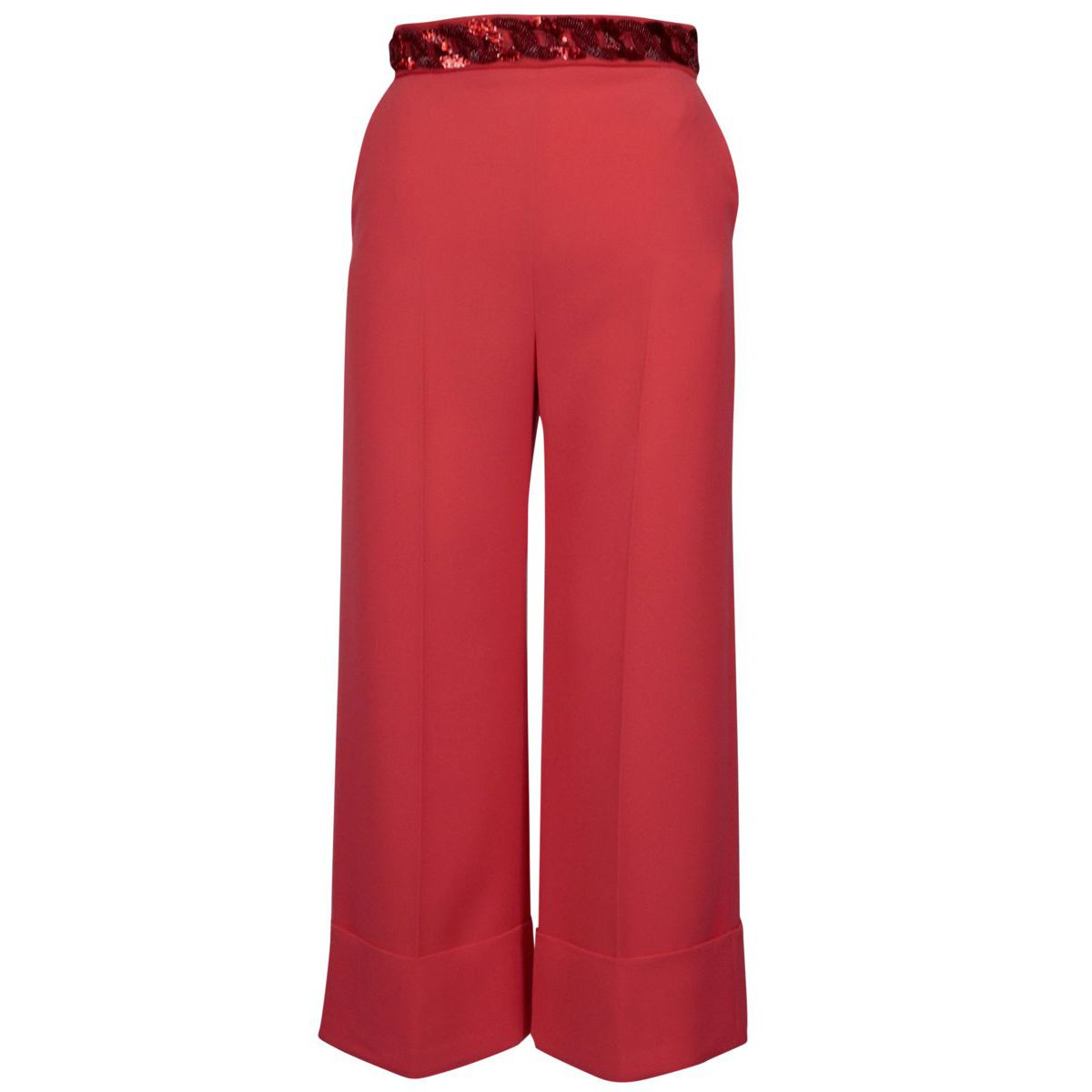 Trousers with wide leg and sequined chain at the waist Deep pink Elisabetta Franchi
