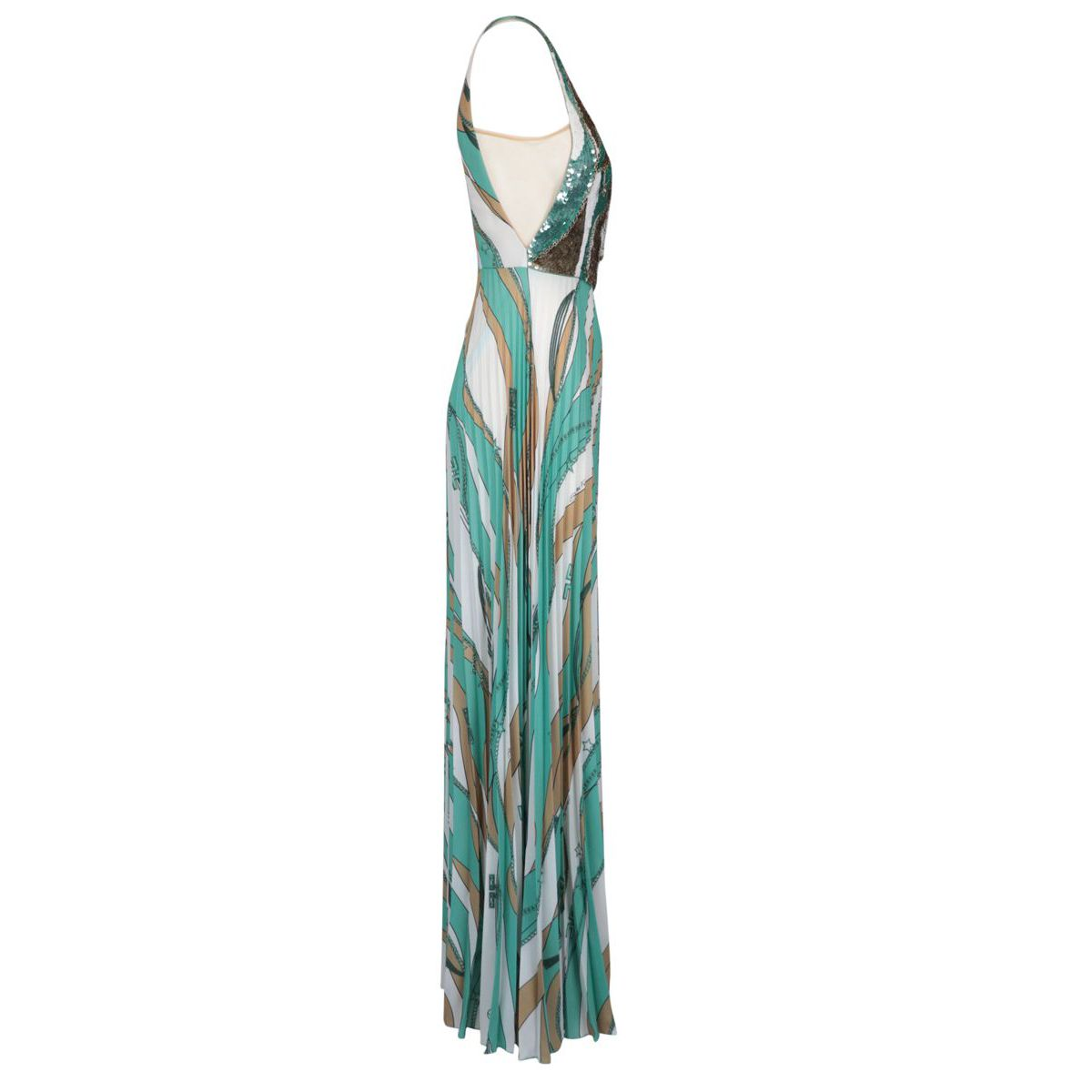 Long dress with sequins Green water Elisabetta Franchi