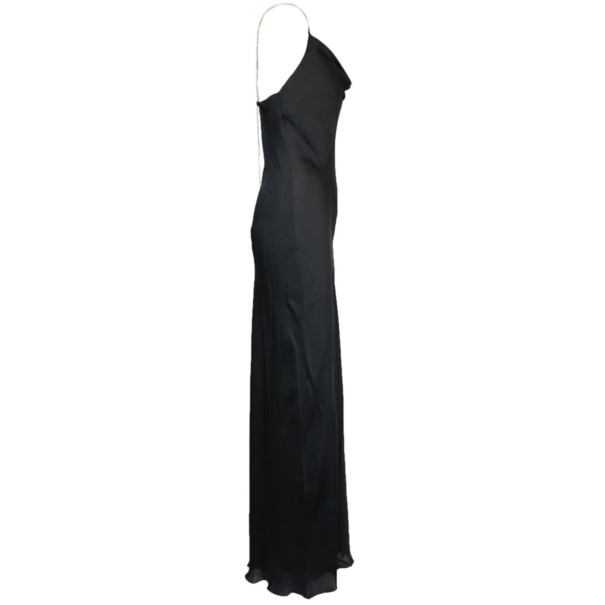 Long dress in fluid satin with side slit Black Patrizia Pepe