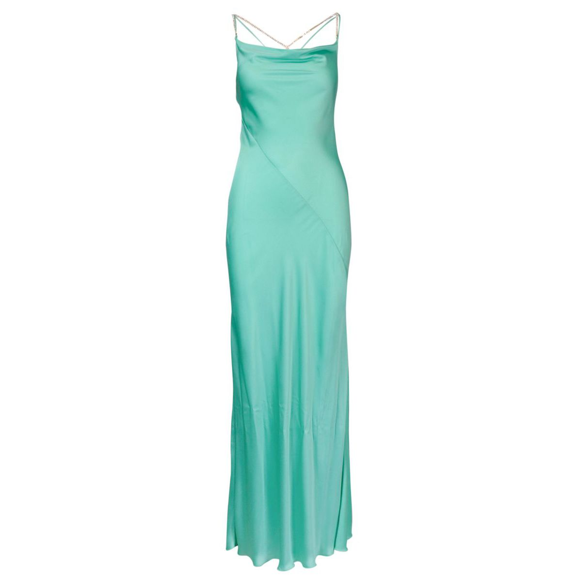 Long dress in fluid satin with side slit Green water Patrizia Pepe